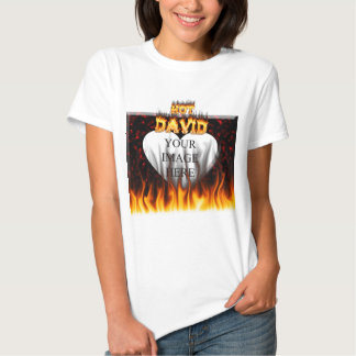Hot David fire and flames red marble. T Shirt
