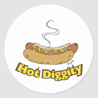 Hot Diggity ~ Hot Dog / Hot Dogs Classic Round Sticker
