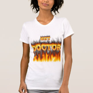 Hot Doctor fire and flames red marble Tee Shirt