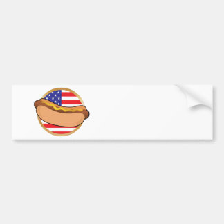 Hot Dog American Flag Bumper Sticker