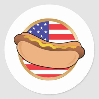 Hot Dog American Flag Classic Round Sticker