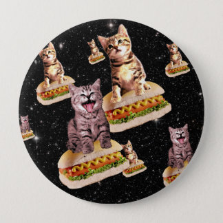 hot dog cat invasion 10 cm round badge
