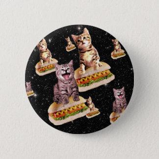 hot dog cat invasion 6 cm round badge