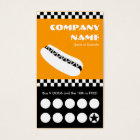 hot dog checkers punchcard business card