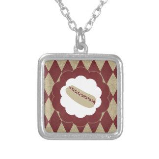 hot dog diamonds square pendant necklace
