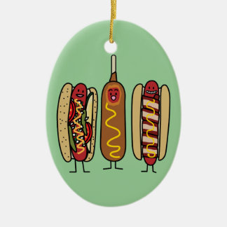 Hot Dog Friends Christmas Ornament