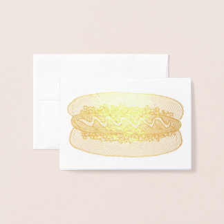 Hot Dog Hotdog w/ Mustard and Relish Food Foodie Foil Card