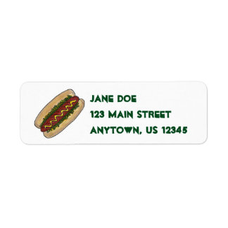 Hot Dog Hotdog w/ Relish on Bun Address Labels