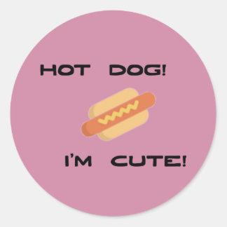 Hot Dog I'm Cute Classic Round Sticker