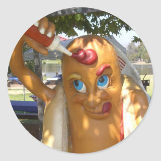 Hot Dog Man Statue Classic Round Sticker
