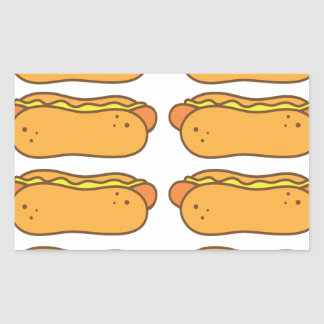 Hot dog on a bun rectangular sticker