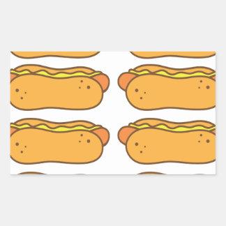 Hot dog on a bun rectangular stickers