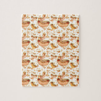 Hot Dog Pattern - floating hot dogs Jigsaw Puzzle