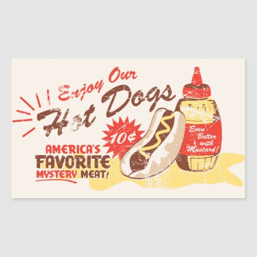 Hot Dog Rectangle Stickers