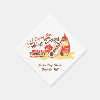 Hot Dog Retro Paper Napkins 50-pack CUSTOMIZABLE
