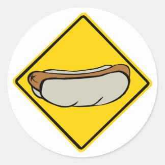 HOT DOG ROAD SIGN 1 ROUND STICKER