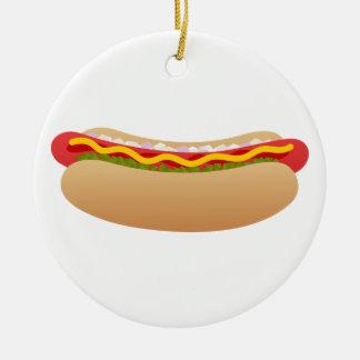 Hot Dog Round Ceramic Decoration