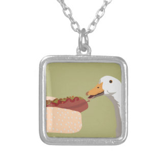 hot dog square pendant necklace