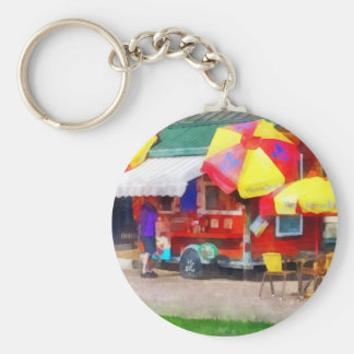 Hot Dog Stand in Mall Basic Round Button Key Ring