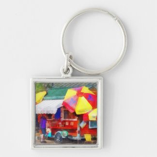 Hot Dog Stand in Mall Silver-Colored Square Key Ring
