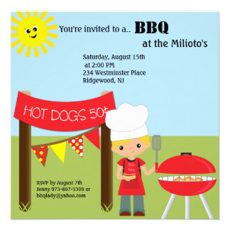 Hot Dog Stand With Chef Barbecue Invitation