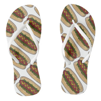 Hot Dog w/ Mustard and Relish Foodie Hotdog Print Flip Flops