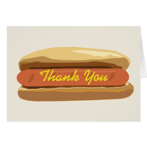 Hot Dog With Mustard Thank You Card
