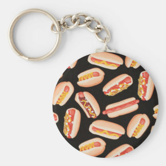 Hot Dogs Basic Round Button Key Ring