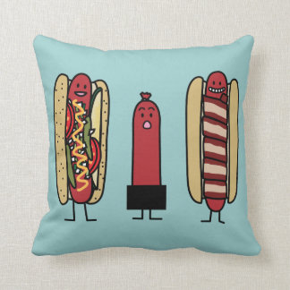 Hot Dogs Bros. Throw Pillow