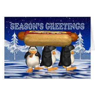 Hot Dogs, Onions, Bun, Christmas Card - Penguins