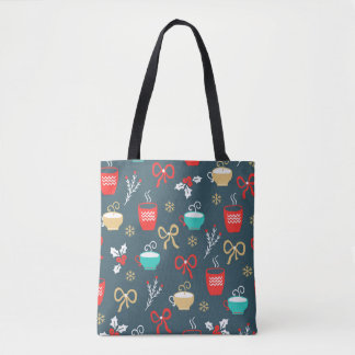 Hot drinks and Holly Berry Christmas Pattern Tote Bag
