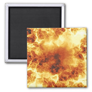 Hot Fiery Exploding Flames Square Magnet