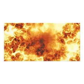 Hot Fiery Exploding Flames Custom Photo Card