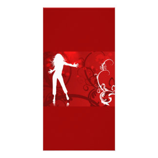 HOT FIRE RED DANCING CLUB PARTY WOMAN GIRL BABE WH CUSTOM PHOTO CARD