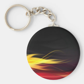 Hot Flames Basic Round Button Key Ring
