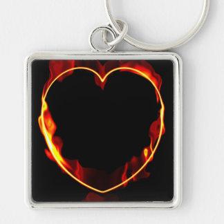 Hot Flaming Heart Keychain