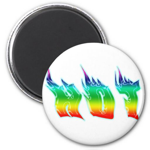 HOT FLAMING WORD 6 CM ROUND MAGNET