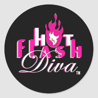 Hot Flash Diva Logo for Dark Bkg Classic Round Sticker
