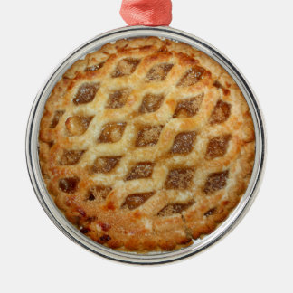 Hot Fresh Apple Pie Silver-Colored Round Decoration