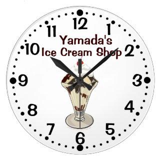 Hot Fudge Ice Cream Sundae Shop Custom Name Clock