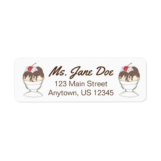 Hot Fudge Sundae Ice Cream Address Labels