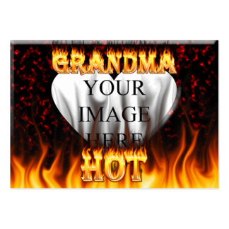 Hot Grandma fire and red marble heart Pack Of Chubby Business Cards