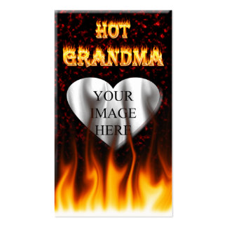 Hot Grandma fire and red marble heart Pack Of Standard Business Cards