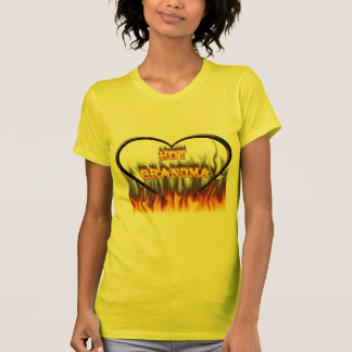 Hot Grandma fire and red marble heart T-Shirt