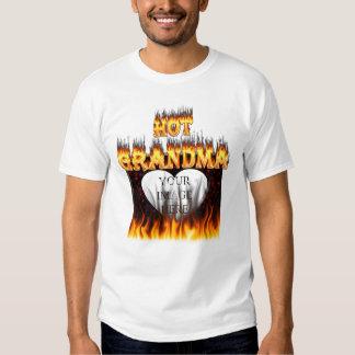Hot Grandma fire and red marble heart Tee Shirt