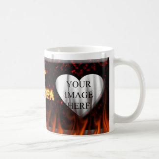 Hot grandpa fire and red marble heart. coffee mug