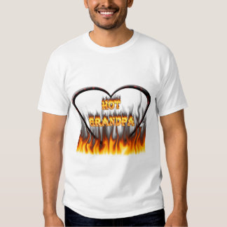 Hot grandpa fire and red marble heart. t-shirts