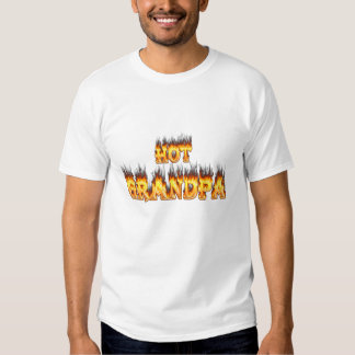 Hot grandpa fire and red marble heart. tee shirt