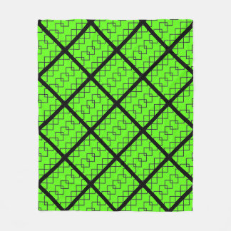 Hot green and black squares on fleece
