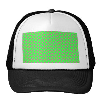 hot green and pink polka dots mesh hat